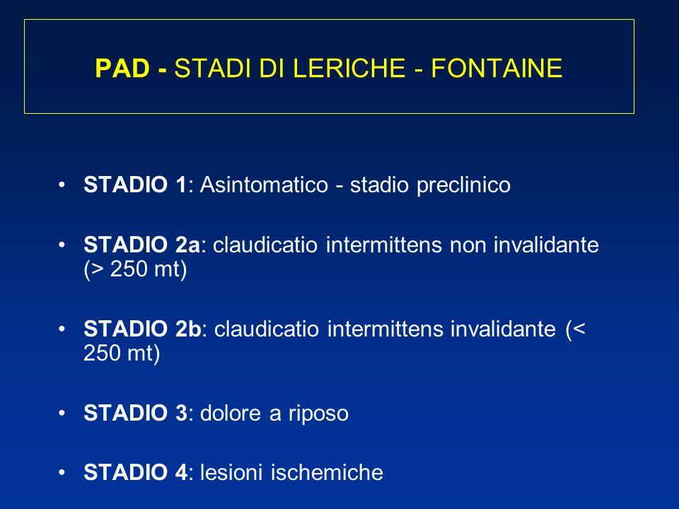 PAD - STADI DI LERICHE - FONTAINE STADIO 1: Asintomatico - stadio preclinico STADIO 2a: claudicatio intermittens non invalidante (> 250 mt) STADIO 2b: claudicatio intermittens invalidante (< 250 mt) STADIO 3: dolore a riposo STADIO 4: lesioni ischemiche