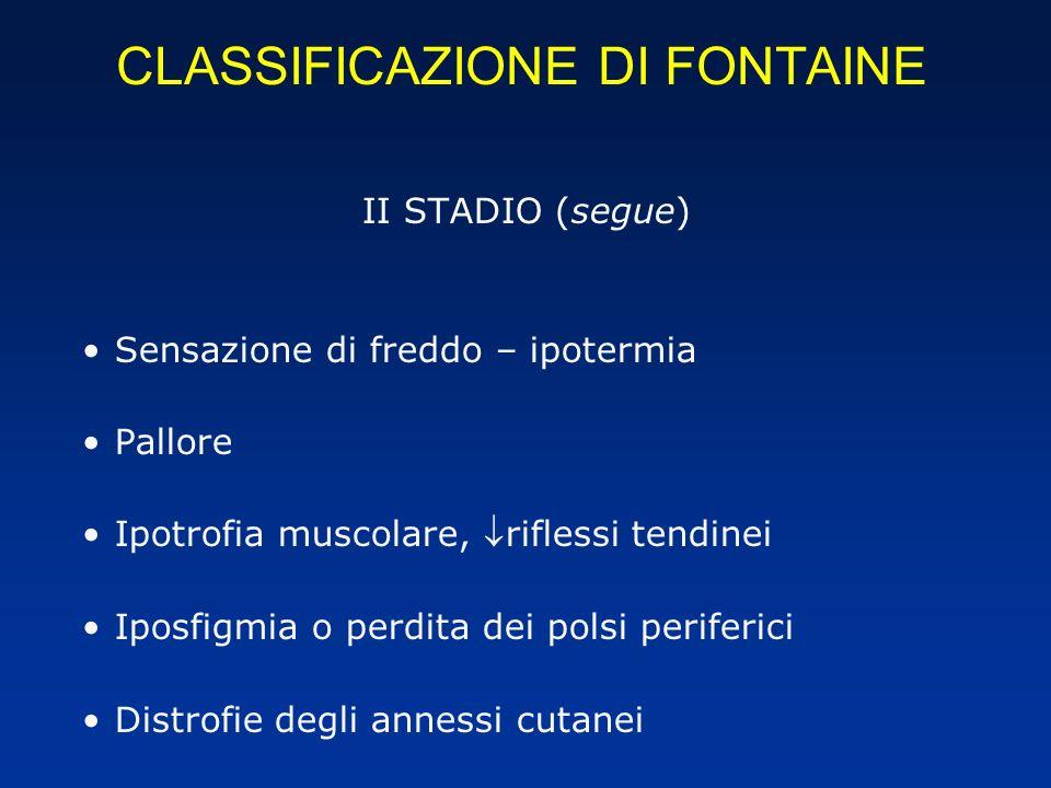 CLASSIFICAZIONE DI FONTAINE II STADIO (segue) Sensazione di freddo – ipotermia Pallore Ipotrofia muscolare, riflessi tendinei Iposfigmia o perdita dei