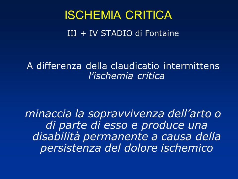 ISCHEMIA CRITICA III + IV STADIO di Fontaine A differenza della claudicatio intermittens lischemia critica minaccia la sopravvivenza dellarto o di parte di esso e produce una disabilità permanente a causa della persistenza del dolore ischemico