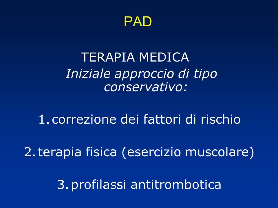 PAD TERAPIA MEDICA Iniziale approccio di tipo conservativo: 1.correzione dei fattori di rischio 2.terapia fisica (esercizio muscolare) 3.profilassi antitrombotica