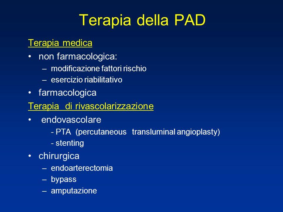 Terapia della PAD Terapia medica non farmacologica: –modificazione fattori rischio –esercizio riabilitativo farmacologica Terapia di rivascolarizzazio