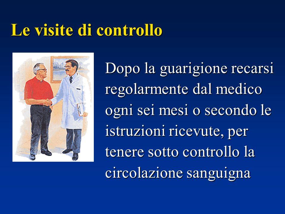 Dopo la guarigione recarsi regolarmente dal medico ogni sei mesi o secondo le istruzioni ricevute, per tenere sotto controllo la circolazione sanguigna Le visite di controllo