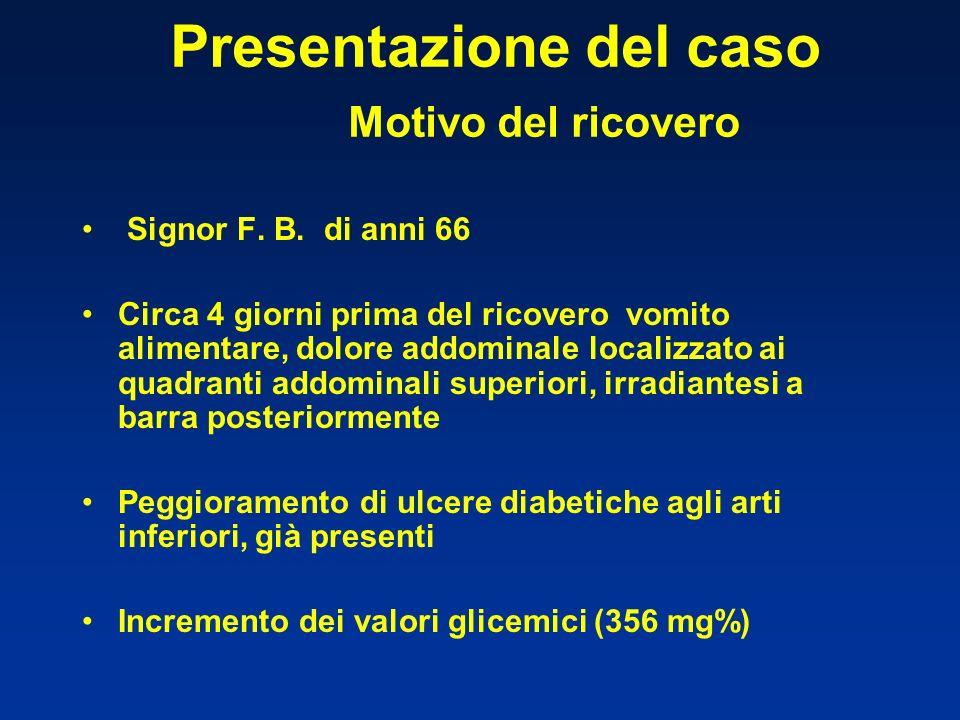 Presentazione del caso Motivo del ricovero Signor F. B. di anni 66 Circa 4 giorni prima del ricovero vomito alimentare, dolore addominale localizzato