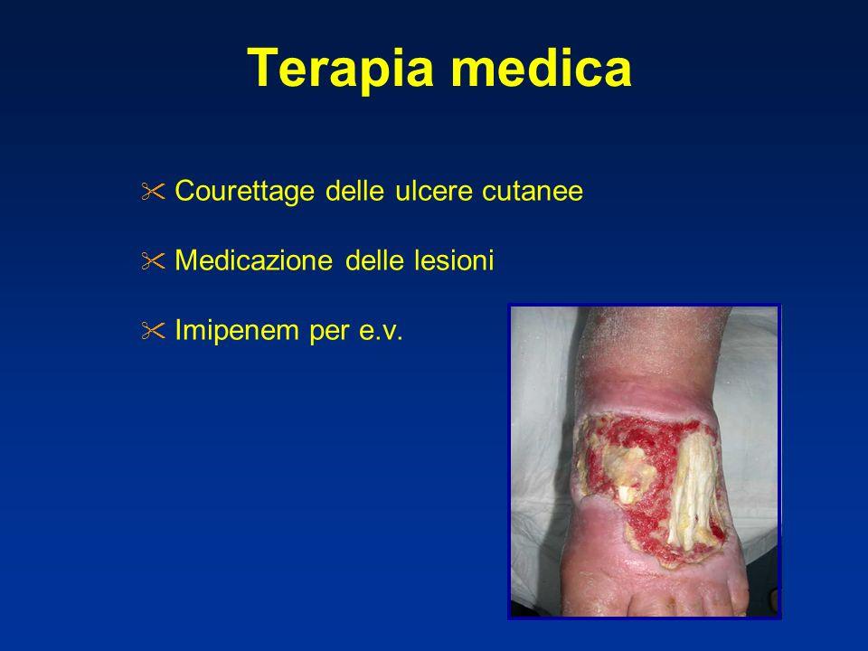 Terapia medica Courettage delle ulcere cutanee Medicazione delle lesioni Imipenem per e.v.