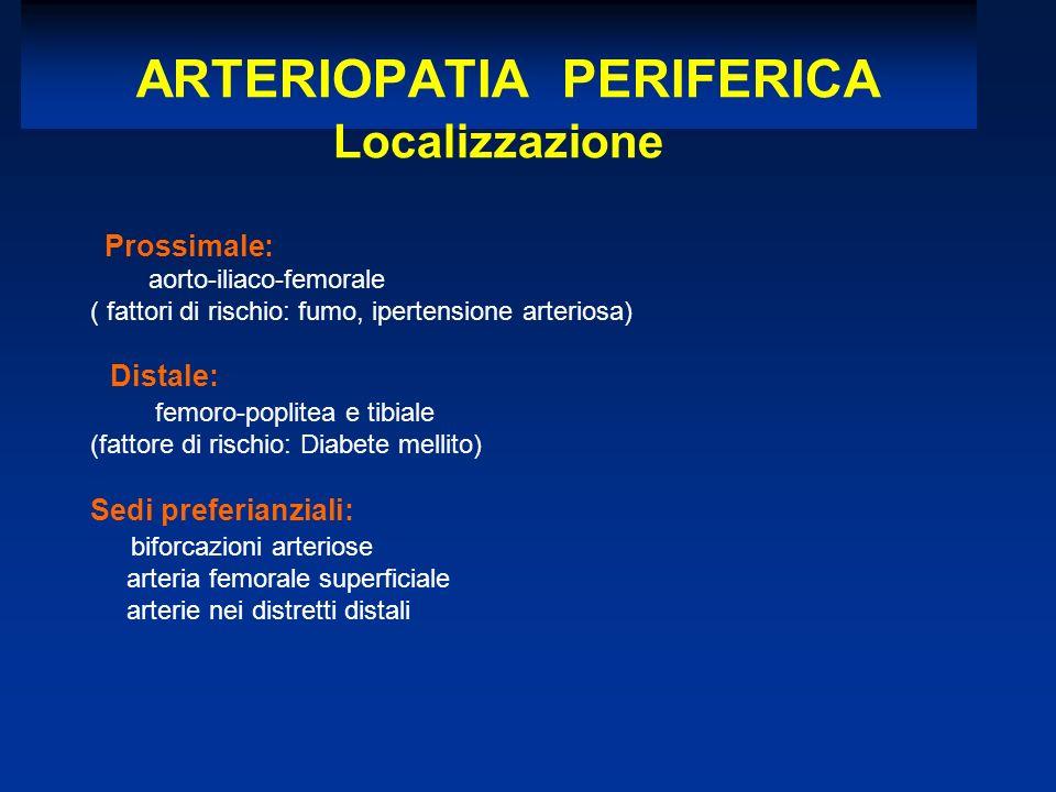 Prossimale: aorto-iliaco-femorale ( fattori di rischio: fumo, ipertensione arteriosa) Distale: femoro-poplitea e tibiale (fattore di rischio: Diabete mellito) Sedi preferianziali: biforcazioni arteriose arteria femorale superficiale arterie nei distretti distali ARTERIOPATIA PERIFERICA Localizzazione