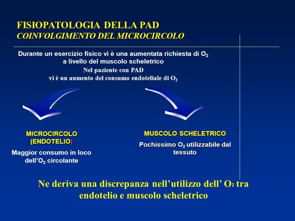FISIOPATOLOGIA DELLA PAD COINVOLGIMENTO DEL MICROCIRCOLO Durante un esercizio fisico vi è una aumentata richiesta di O 2 a livello del muscolo scheletrico Nel paziente con PAD vi è un aumento del consumo endoteliale di O 2 MICROCIRCOLO (ENDOTELIO) Maggior consumo in loco dellO 2 circolante MUSCOLO SCHELETRICO Pochissimo O 2 utilizzabile dal tessuto Ne deriva una discrepanza nellutilizzo dell O 2 tra endotelio e muscolo scheletrico
