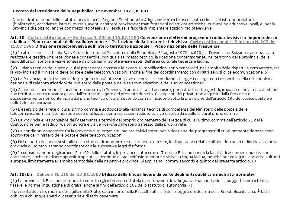Art. 10 Corte costituzionale - Sentenza N. 206 del 15.07.1985 Convenzione relativa ai programmi radiotelevisivi in lingua tedesca e ladina – Piano naz