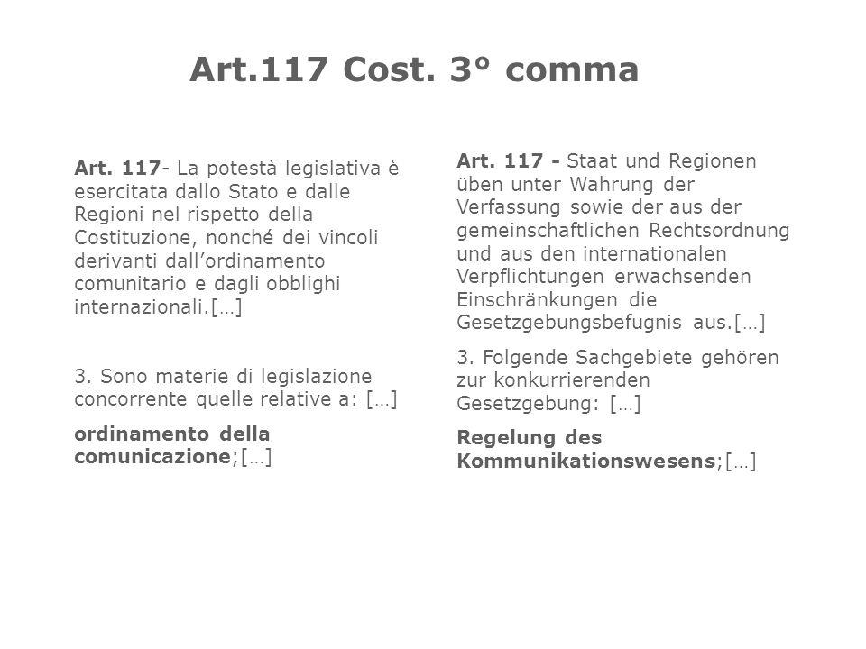 Art. 117- La potestà legislativa è esercitata dallo Stato e dalle Regioni nel rispetto della Costituzione, nonché dei vincoli derivanti dallordinament