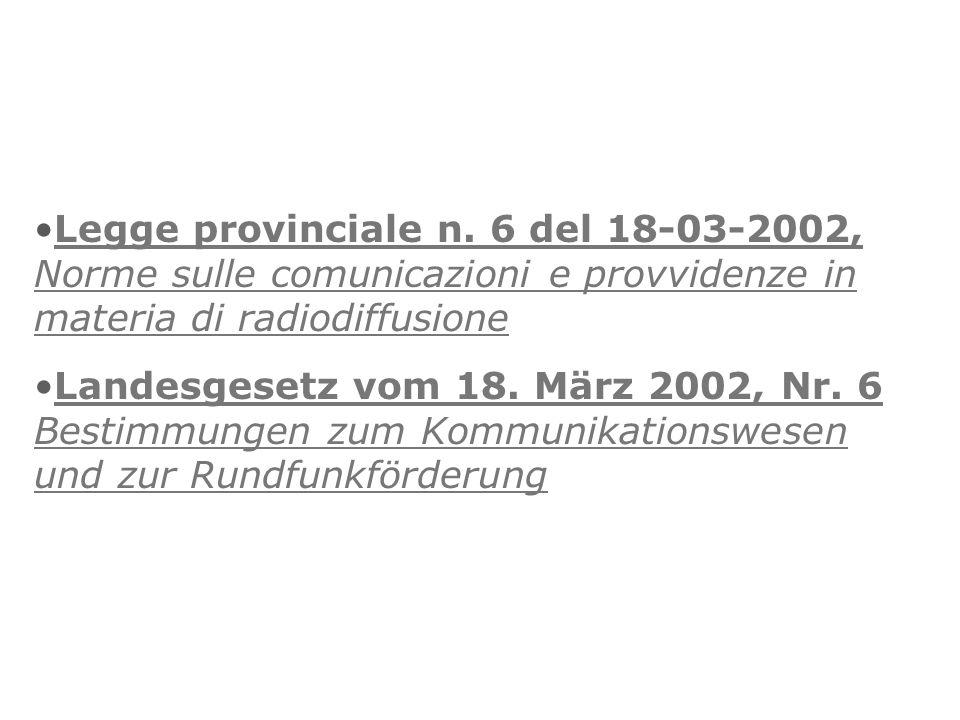 Legge provinciale n. 6 del 18-03-2002, Norme sulle comunicazioni e provvidenze in materia di radiodiffusioneLegge provinciale n. 6 del 18-03-2002, Nor