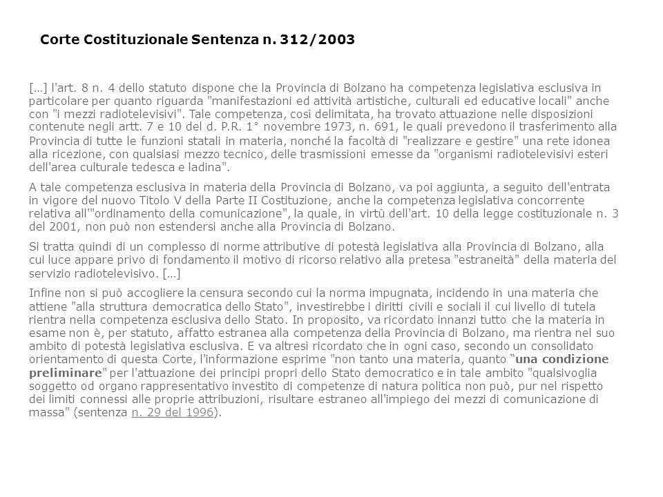 […] l'art. 8 n. 4 dello statuto dispone che la Provincia di Bolzano ha competenza legislativa esclusiva in particolare per quanto riguarda