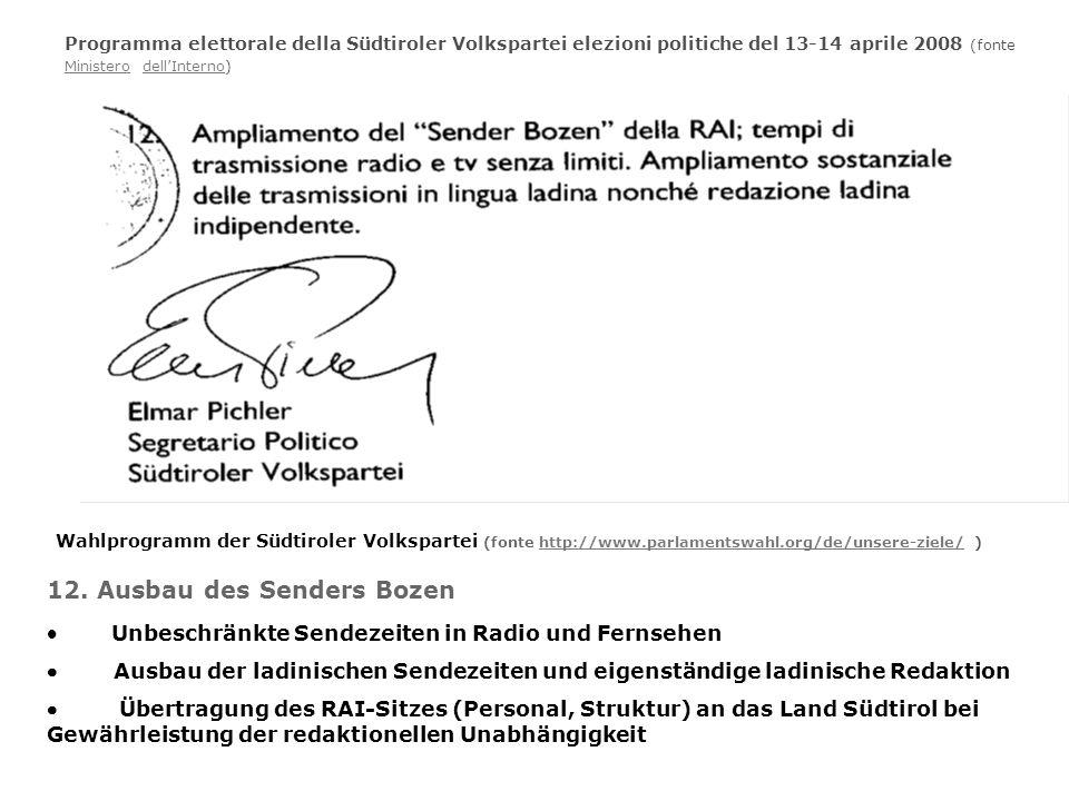 Programma elettorale della Südtiroler Volkspartei elezioni politiche del 13-14 aprile 2008 (fonte Ministero dellInterno) MinisterodellInterno Wahlprog
