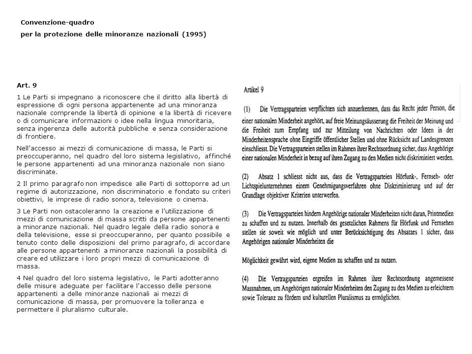 Convenzione-quadro per la protezione delle minoranze nazionali (1995) Art. 9 1 Le Parti si impegnano a riconoscere che il diritto alla libertà di espr