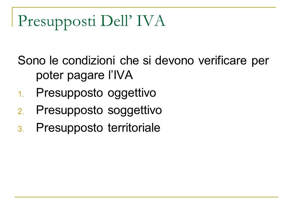 Presupposti Dell IVA Sono le condizioni che si devono verificare per poter pagare lIVA 1. Presupposto oggettivo 2. Presupposto soggettivo 3. Presuppos