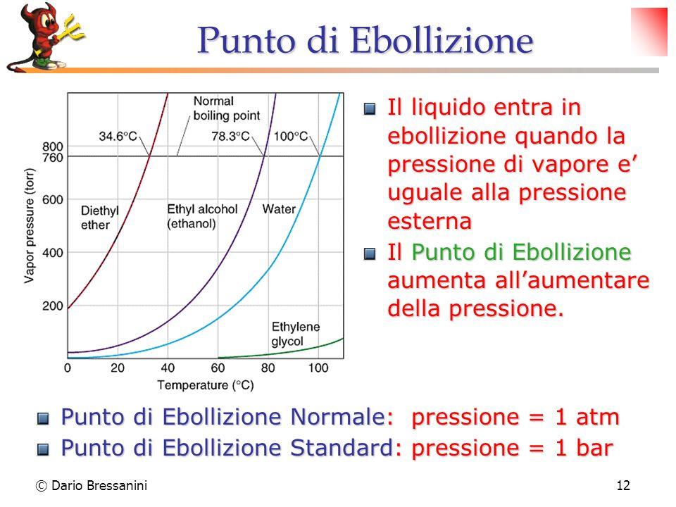 © Dario Bressanini12 Punto di Ebollizione Il liquido entra in ebollizione quando la pressione di vapore e uguale alla pressione esterna Il Punto di Eb