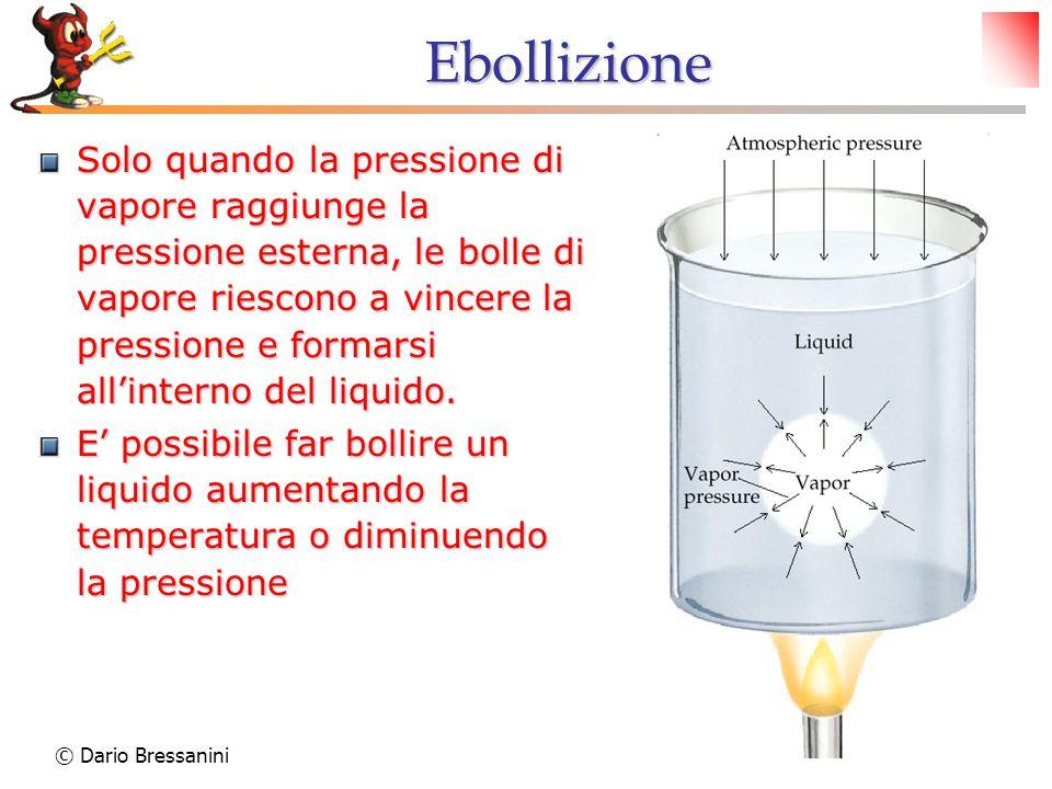 © Dario Bressanini14 Ebollizione Solo quando la pressione di vapore raggiunge la pressione esterna, le bolle di vapore riescono a vincere la pressione