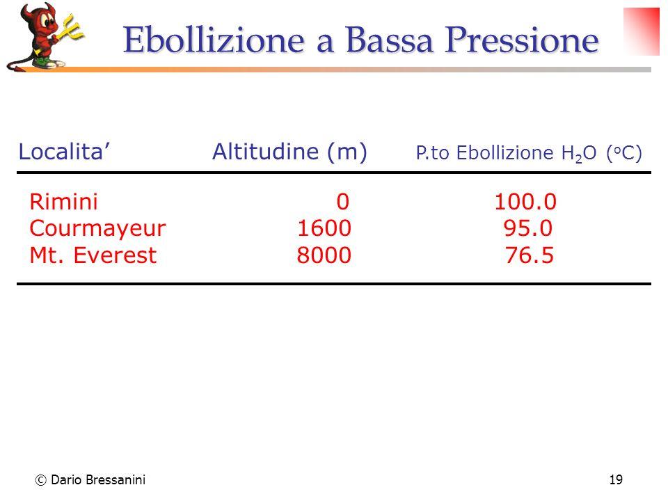 © Dario Bressanini19 Localita Altitudine (m) P.to Ebollizione H 2 O ( o C) Rimini 0 100.0 Courmayeur 1600 95.0 Mt. Everest 8000 76.5 Ebollizione a Bas