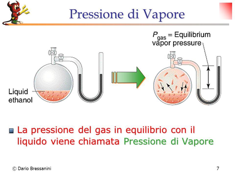 7 Pressione di Vapore La pressione del gas in equilibrio con il liquido viene chiamata Pressione di Vapore