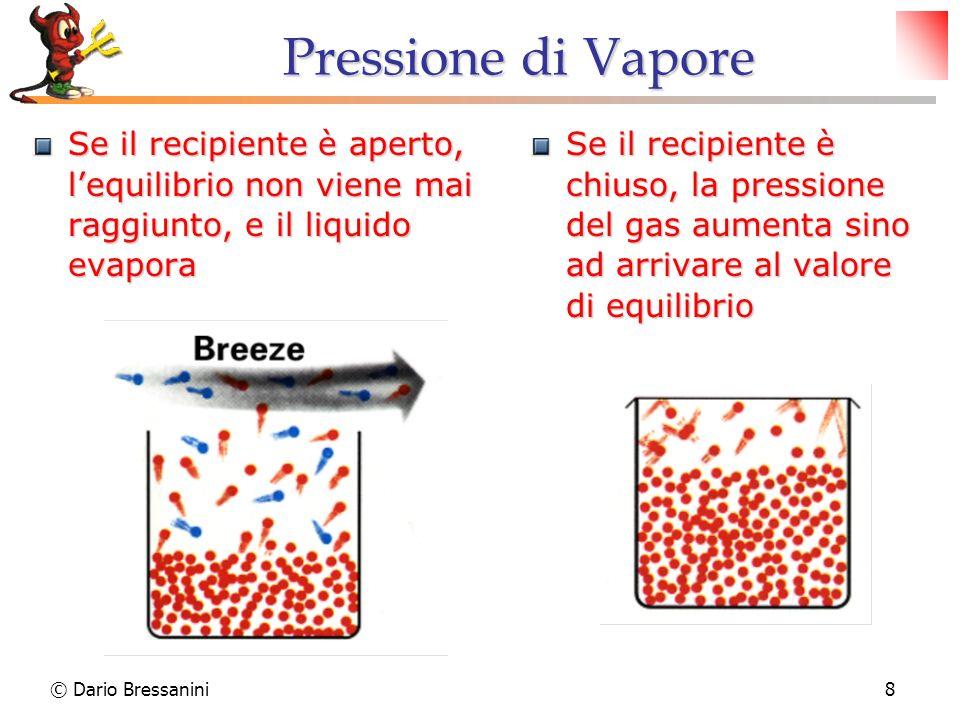 © Dario Bressanini8 Pressione di Vapore Se il recipiente è aperto, lequilibrio non viene mai raggiunto, e il liquido evapora Se il recipiente è chiuso