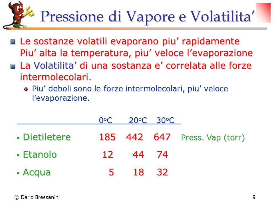 © Dario Bressanini9 Pressione di Vapore e Volatilita Le sostanze volatili evaporano piu rapidamente Piu alta la temperatura, piu veloce levaporazione