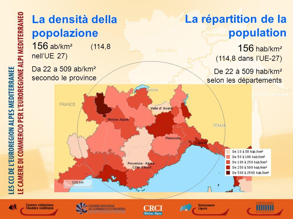 La répartition de la population 156 hab/km² (114,8 dans lUE-27) De 22 à 509 hab/km² selon les départements 156 ab/km² (114,8 nellUE 27) Da 22 a 509 ab/km² secondo le province La densità della popolazione Rhône-Alpes Provence - Alpes - Côte dAzur Valle d Aosta Piemonte Liguria FRANCE