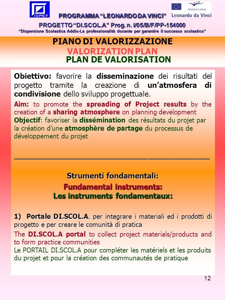 12 Obiettivo: favorire la disseminazione dei risultati del progetto tramite la creazione di unatmosfera di condivisione dello sviluppo progettuale.