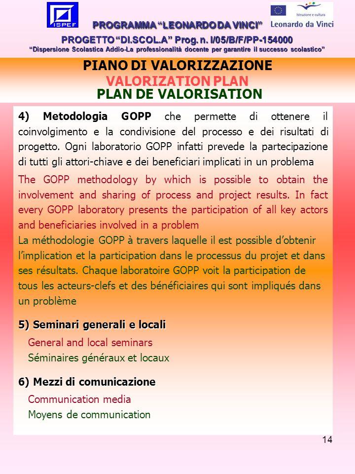 14 4) Metodologia GOPP che permette di ottenere il coinvolgimento e la condivisione del processo e dei risultati di progetto.