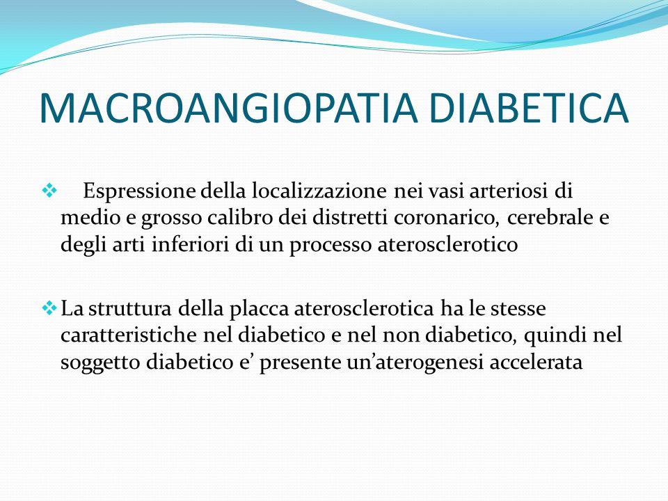 MACROANGIOPATIA DIABETICA Espressione della localizzazione nei vasi arteriosi di medio e grosso calibro dei distretti coronarico, cerebrale e degli ar