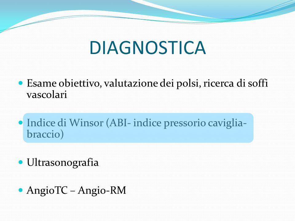 DIAGNOSTICA Esame obiettivo, valutazione dei polsi, ricerca di soffi vascolari Indice di Winsor (ABI- indice pressorio caviglia- braccio) Ultrasonogra