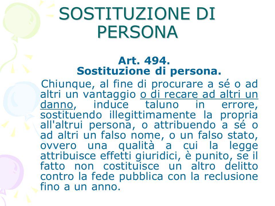 SOSTITUZIONE DI PERSONA Art.494. Sostituzione di persona.