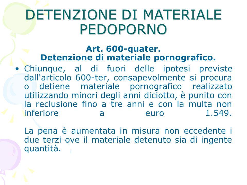 DETENZIONE DI MATERIALE PEDOPORNO Art.600-quater.