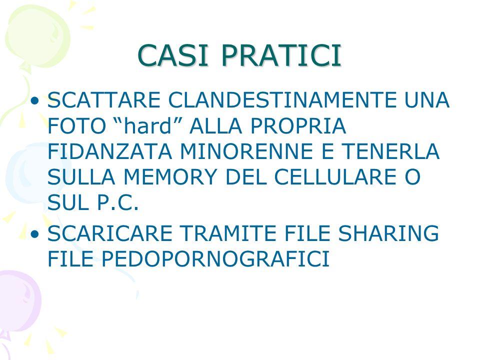 CASI PRATICI SCATTARE CLANDESTINAMENTE UNA FOTO hard ALLA PROPRIA FIDANZATA MINORENNE E TENERLA SULLA MEMORY DEL CELLULARE O SUL P.C.
