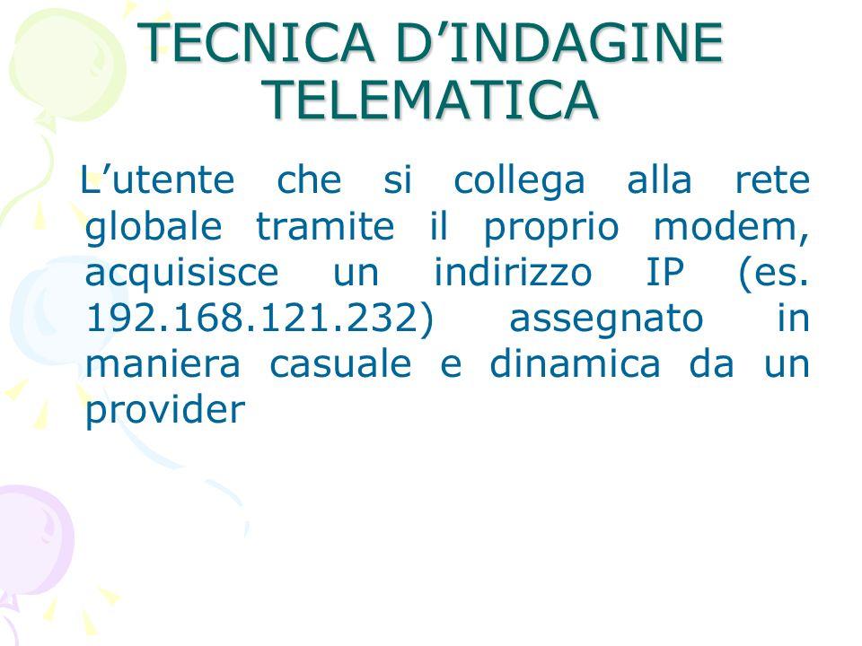 TECNICA DINDAGINE TELEMATICA Lutente che si collega alla rete globale tramite il proprio modem, acquisisce un indirizzo IP (es.