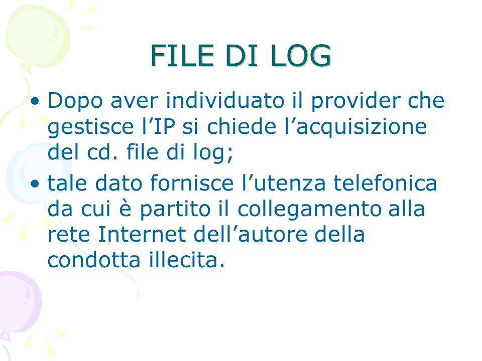 FILE DI LOG Dopo aver individuato il provider che gestisce lIP si chiede lacquisizione del cd.