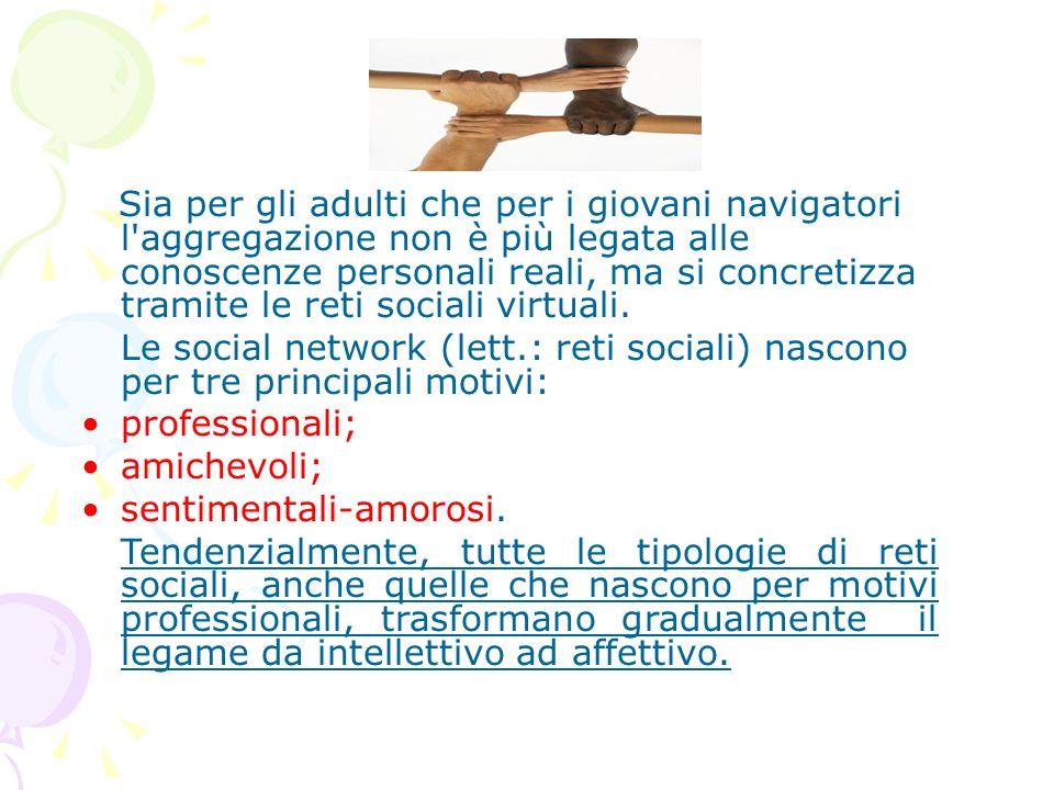 Sia per gli adulti che per i giovani navigatori l aggregazione non è più legata alle conoscenze personali reali, ma si concretizza tramite le reti sociali virtuali.
