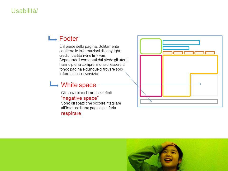 Usabilità/ Footer È il piede della pagina. Solitamente contiene le informazioni di copyright, crediti, partita iva e link vari. Separando I contenuti