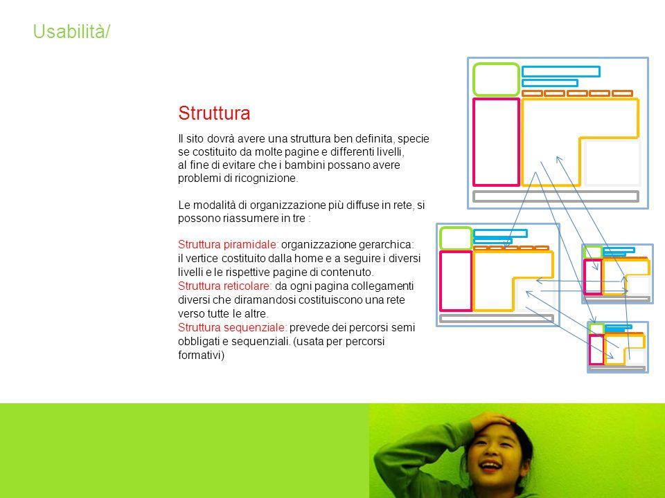Usabilità/ Il sito dovrà avere una struttura ben definita, specie se costituito da molte pagine e differenti livelli, al fine di evitare che i bambini