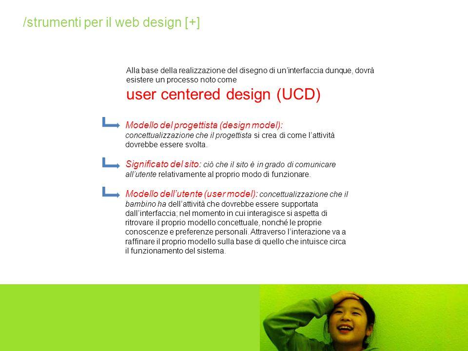 Alla base della realizzazione del disegno di uninterfaccia dunque, dovrà esistere un processo noto come user centered design (UCD) Modello del progett