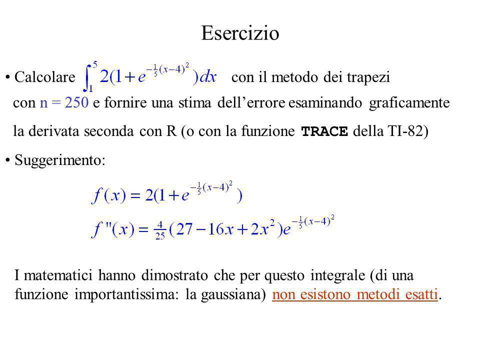 Esercizio Calcolare con il metodo dei trapezi con n = 250 e fornire una stima dellerrore esaminando graficamente la derivata seconda con R (o con la f