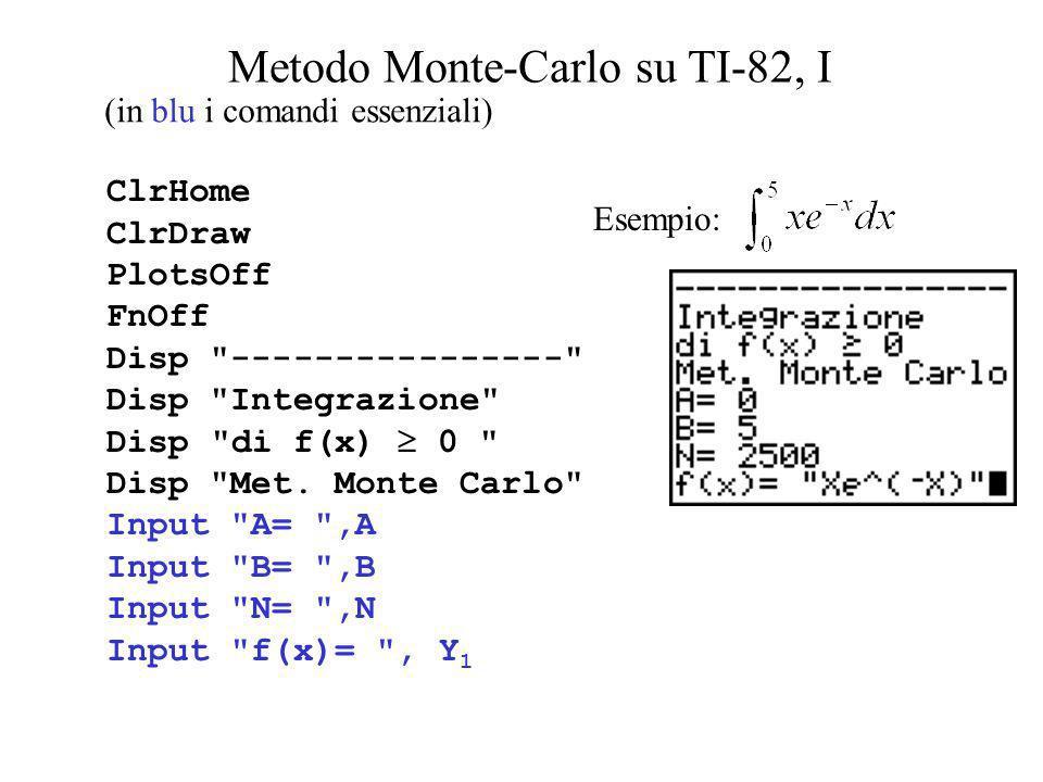 Metodo Monte-Carlo su TI-82, I ClrHome ClrDraw PlotsOff FnOff Disp
