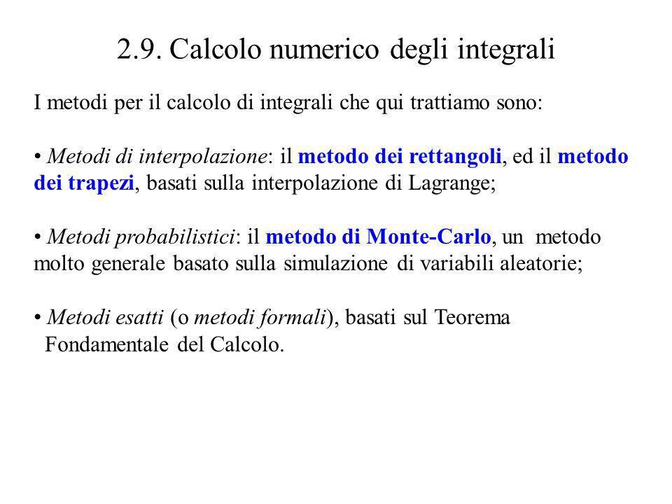Stima dellerrore Metodo dei rettangoli Metodo dei trapezi Ad esempio per il calcolo di si può assumere M 1 = M 2 = 1 per cui con sole n = 250 suddivisioni si ha | - R n | 0.0197392 (NB: si divide per n ) | - T n | 0.00024805 (NB: si divide per n ² )