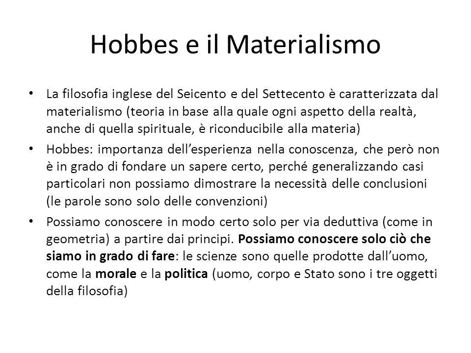 Hobbes e il Materialismo La filosofia inglese del Seicento e del Settecento è caratterizzata dal materialismo (teoria in base alla quale ogni aspetto