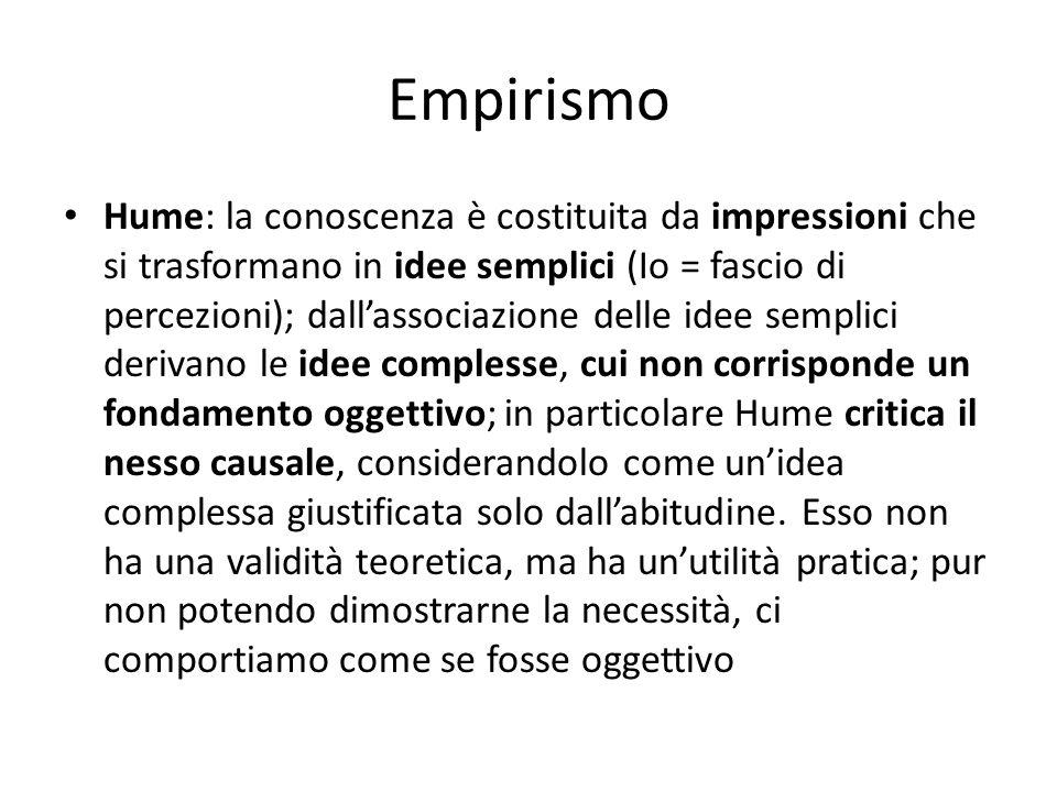 Empirismo Hume: la conoscenza è costituita da impressioni che si trasformano in idee semplici (Io = fascio di percezioni); dallassociazione delle idee