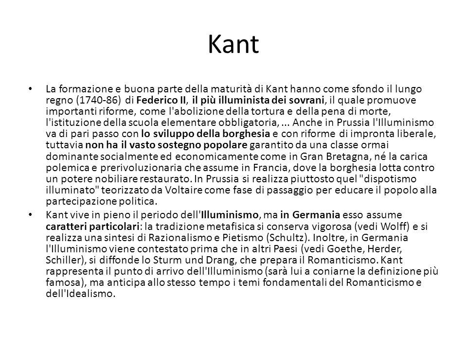 Kant La formazione e buona parte della maturità di Kant hanno come sfondo il lungo regno (1740-86) di Federico II, il più illuminista dei sovrani, il