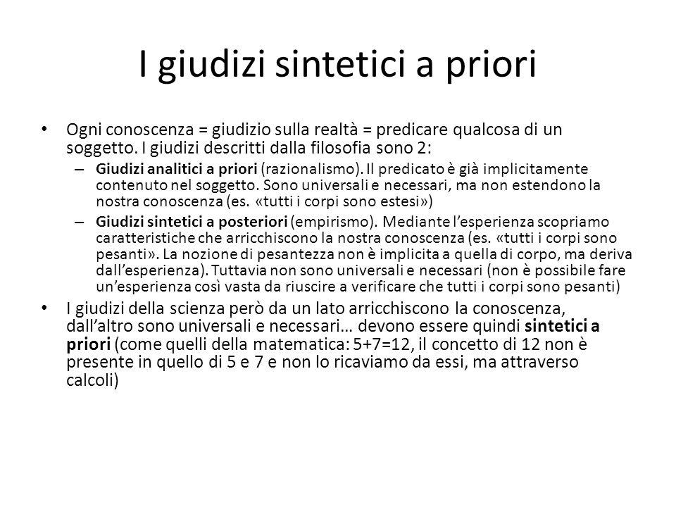 I giudizi sintetici a priori Ogni conoscenza = giudizio sulla realtà = predicare qualcosa di un soggetto. I giudizi descritti dalla filosofia sono 2: