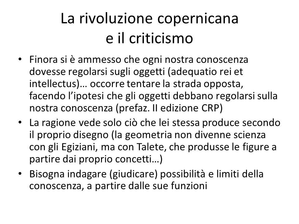 La rivoluzione copernicana e il criticismo Finora si è ammesso che ogni nostra conoscenza dovesse regolarsi sugli oggetti (adequatio rei et intellectu