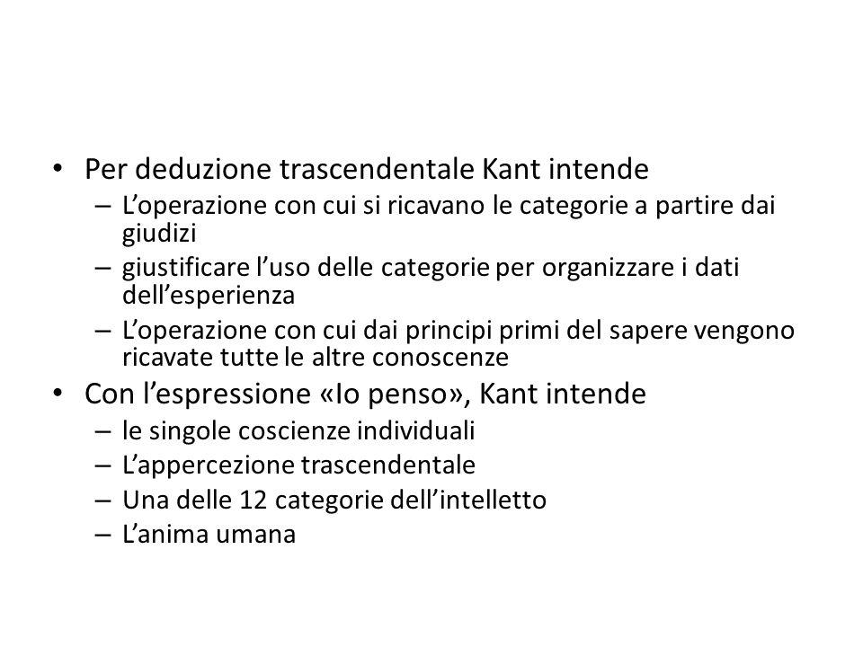 Per deduzione trascendentale Kant intende – Loperazione con cui si ricavano le categorie a partire dai giudizi – giustificare luso delle categorie per