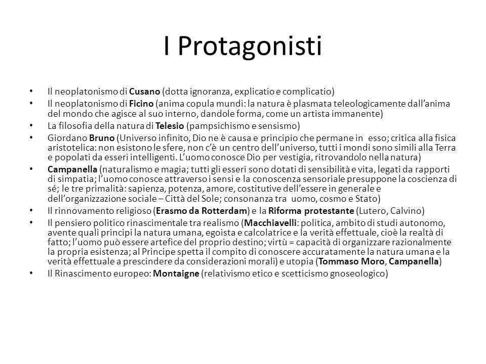 I Protagonisti Il neoplatonismo di Cusano (dotta ignoranza, explicatio e complicatio) Il neoplatonismo di Ficino (anima copula mundi: la natura è plas
