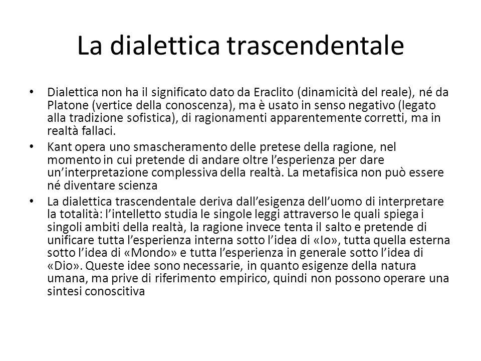 La dialettica trascendentale Dialettica non ha il significato dato da Eraclito (dinamicità del reale), né da Platone (vertice della conoscenza), ma è