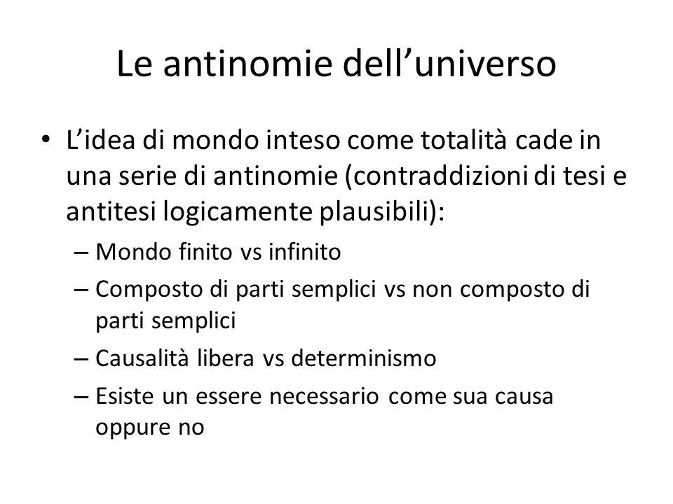 Le antinomie delluniverso Lidea di mondo inteso come totalità cade in una serie di antinomie (contraddizioni di tesi e antitesi logicamente plausibili