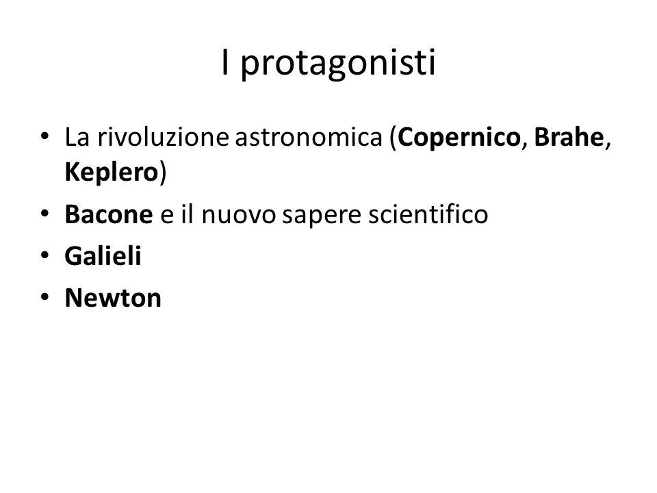 I protagonisti La rivoluzione astronomica (Copernico, Brahe, Keplero) Bacone e il nuovo sapere scientifico Galieli Newton